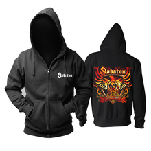 Bloodhoof Sabaton heavy metal negro power metal cremallera Sudadera con capucha talla asiática