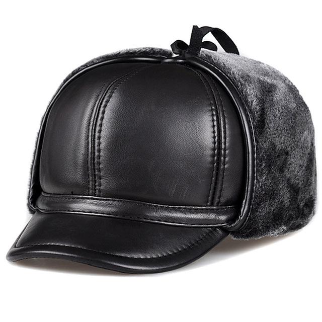 Svadilfari Hot seller 2018 men thick Genuine leather bomber hat winter earflap Russian hats Ushanka trapper Windproof warm woman