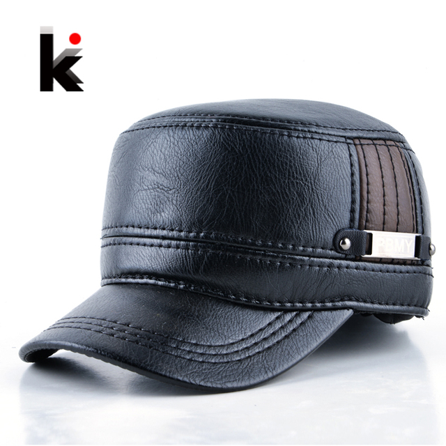 2017 Winter mens leather cap warm hat baseball cap with ear flaps russia flat top caps for men casquette