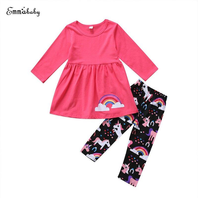 2-7y Kleinkind Kinder Baby Langarm Regenbogen Mini Kleid Tops Einhorn Lange Hose Legging 2 StÜcke Outfit Kinder Kleidung Set