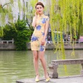 New Summer Women Cheongsam Lady Chinese Style Vestido Female Yellow Qipao  Short Sleeve Printed Party Clothes
