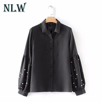 NLW Black Beading Pearl Women Shirts Lantern Long Sleeve 2017 Autumn Winter Casual Blouses Ladies Party