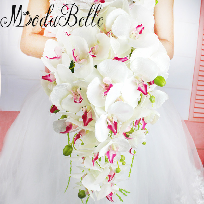 modabelle waterfall pastoral wedding brides bouquet bridesmaid western artificial phalaenopsis wedding flowers bridal bouquetschina