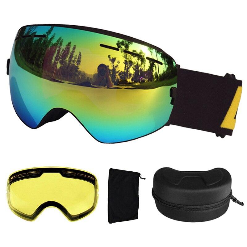 Lunettes de Ski LOCLE Anti-buée UV400 lunettes de Ski sphériques lunettes de Ski Snowboard Double lentille lunettes de Ski avec lentille et boîte supplémentaires