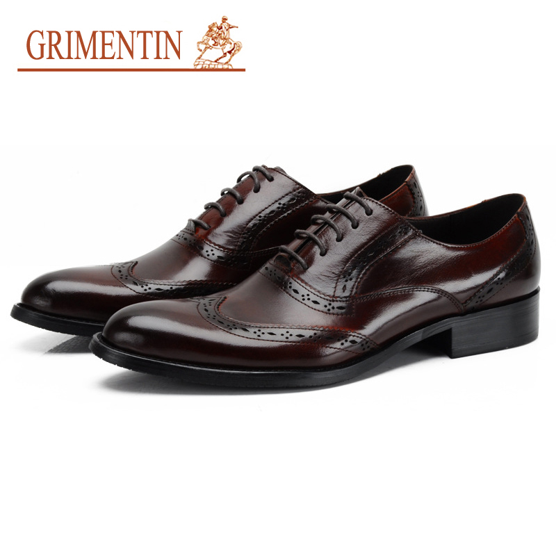 GRIMENTIN Newest 2017 Brand Man Oxford Shoes Genuine Leather Luxury Mens Wedding Shoes Fashion Designer Classic