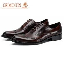 Grimentin Новинка 2017 года, Брендовые мужские оксфорды обувь натуральная кожа роскошные Мужская Свадебная обувь модные дизайнерские Классическая модельная обувь мужская обувь