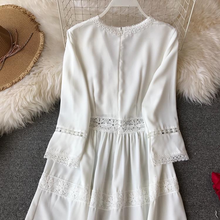 Women Bohemian Dress Lady Half Sleeve V Neck Red and White Beach Holiday Elegant Vestidos E152 38