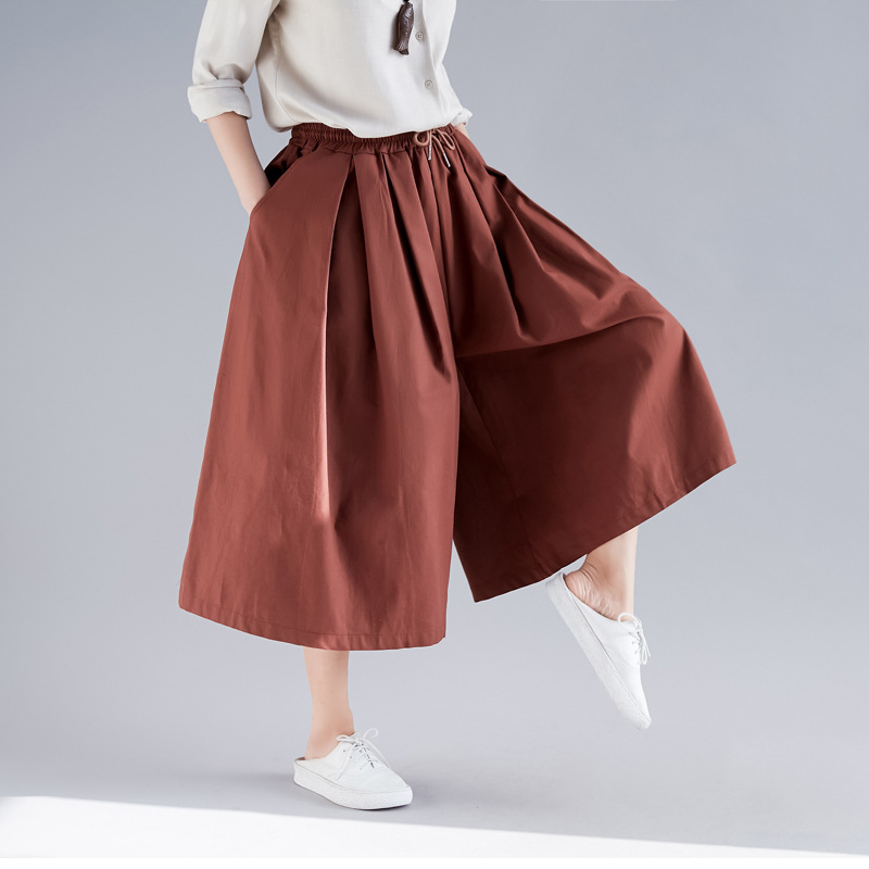 Johnature Solid Color Elastic Waist Tie Plus Size   Pants   2019 Spring Pockets Casual Loose Linen Women Calf-Length   Wide     Leg     Pants