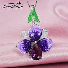Женский кулон с эмалью в виде цветка rainmarch серебряное ожерелье