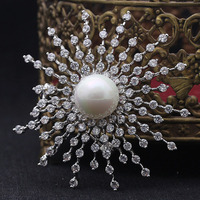 Women Wedding Brooches Color Imitation Pearl Sunflower Brooch Pin Perfect Women zirconia Brooch & Pendant Bridal Bijoux