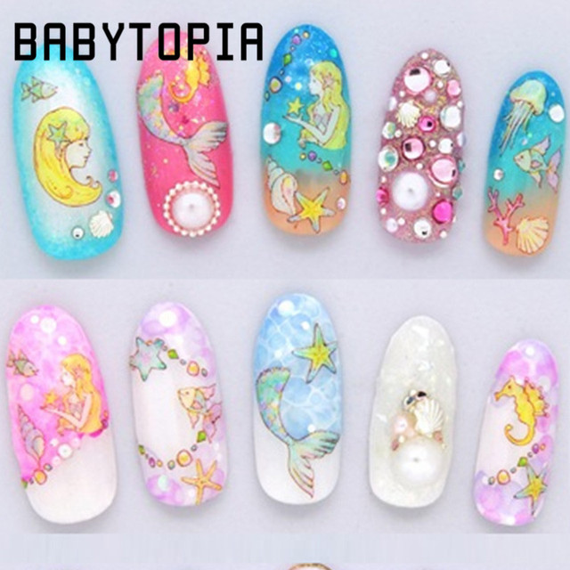 Manicure Cartoon Mermaid Girls Dolphin Nail Art Water Decal Transfer  Sticker Mixed Decals Nail Tips Decoration - Manicure Cartoon Mermaid Girls Dolphin Nail Art Water Decal Transfer
