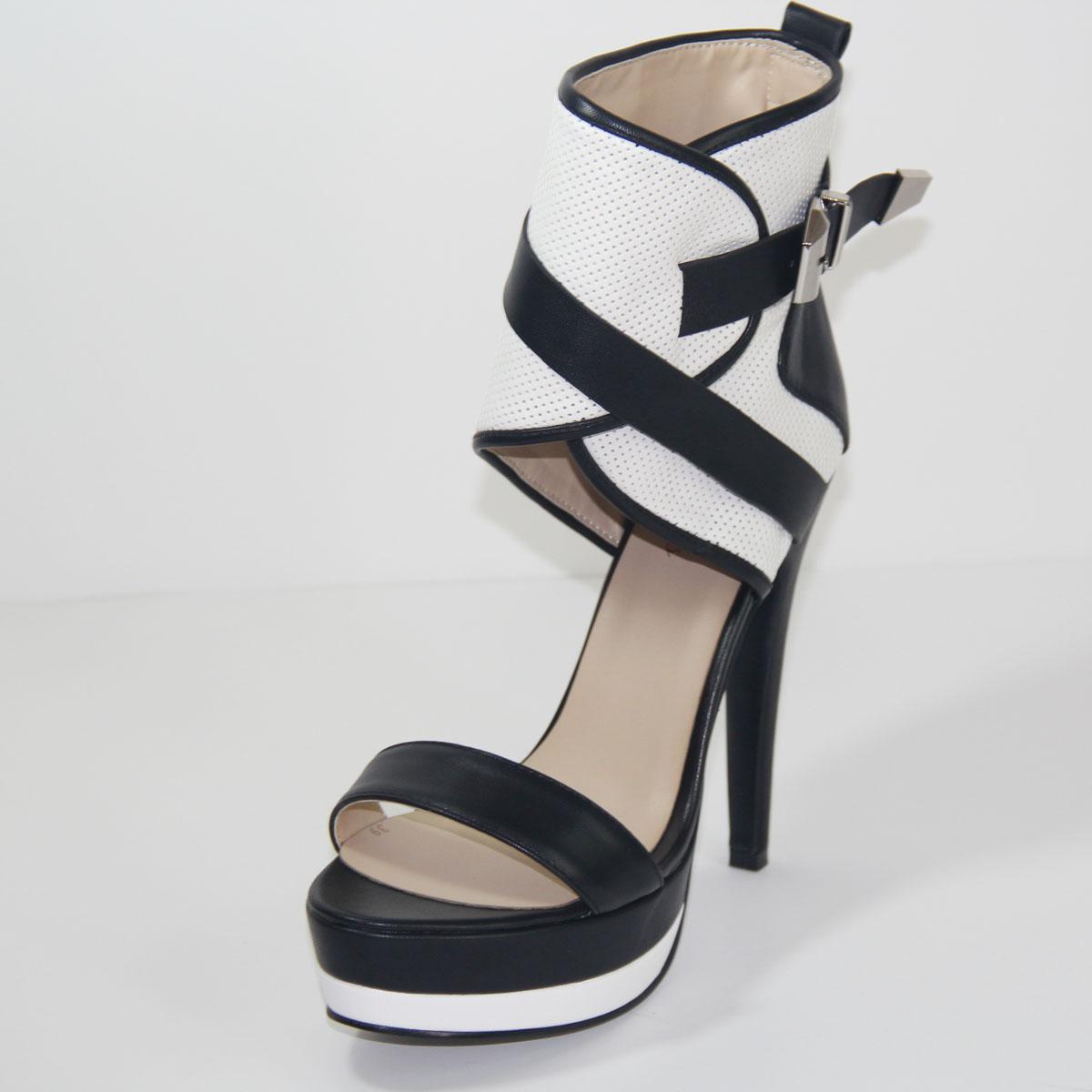 Zapatos Zapato Comercio Exterior black De White Del Moda Las Grande Talón And tartrazine Alto Mujeres Sandalias Sexy Punto Black PwXIqxn5