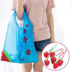 Heißer Erdbeere Faltbare Einkaufstaschen Kreative umwelt lagerung tasche Handtasche Mehrweg Klapp Grocery Nylon Große Tasche