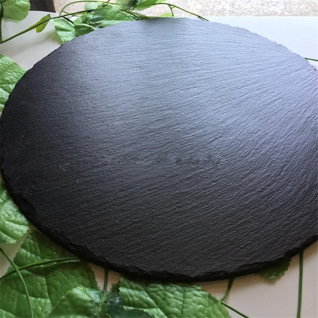 Round Flat Natural Slate Plate