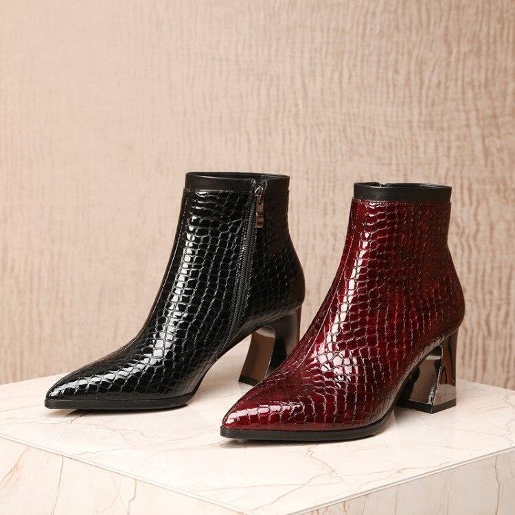 MLJUESE 2019 kobiety botki buty ze skóry lakierowanej zamki szpiczasty nosek wąż pasek wysokie obcasy buty damskie rozmiar 33 43 w Buty do kostki od Buty na  Grupa 2