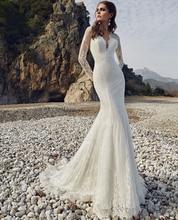 Lace Beach Mermaid Wedding Dress Long Sleeves 2019 Bride Appliques Elegant Vintage Backless Bridal Gown Boho