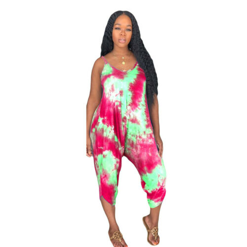 2019 Summer Women Floral Holiday Long Playsuits Beach Casual Sleeveless Jumpsuit Ladies Loose Strappy   Rompers   Plus Size S-2XL