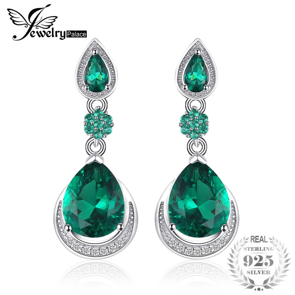 JewelryPalace Luxury 14.38ct Created Emerald Water Drop Earrings Genuine 925 Sterling Silver Fine Jewelry Women Vintage Earrings цена