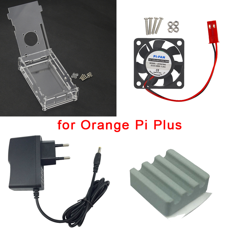 Orange Pi Plus Kit Acrylic Case Clear Box CPU Cooling Fan 5V 2A Power Supply Adapter