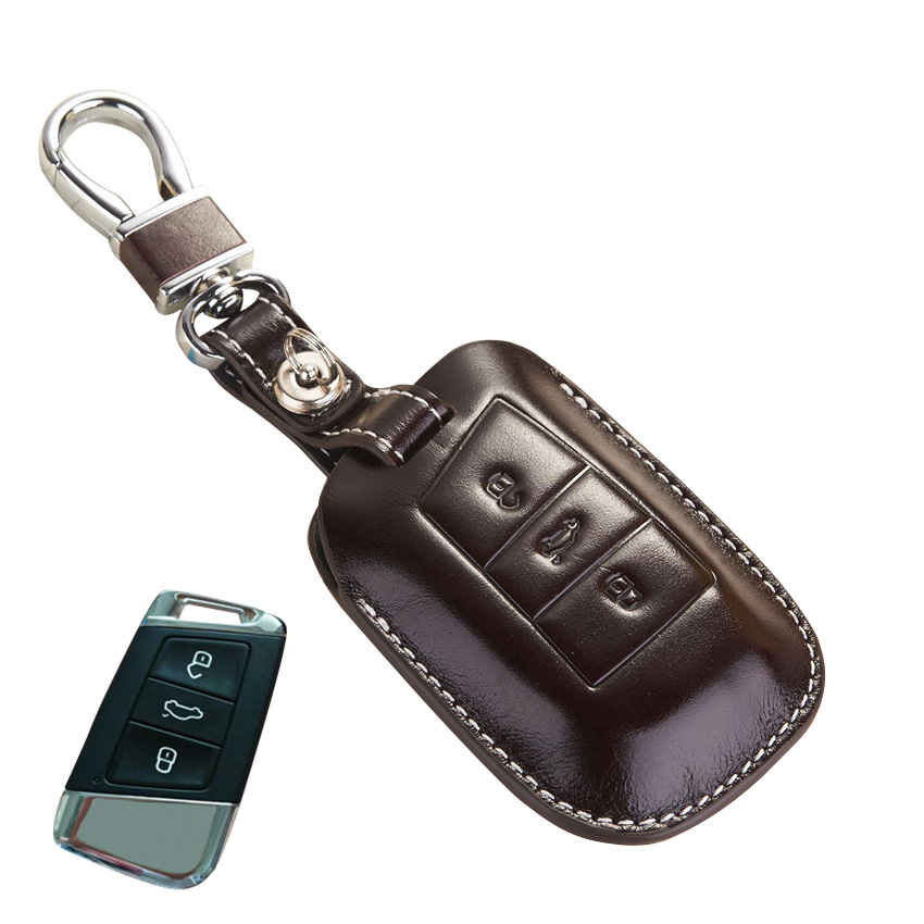 leather key fob cover for volkswagen passat b8 accessories. Black Bedroom Furniture Sets. Home Design Ideas