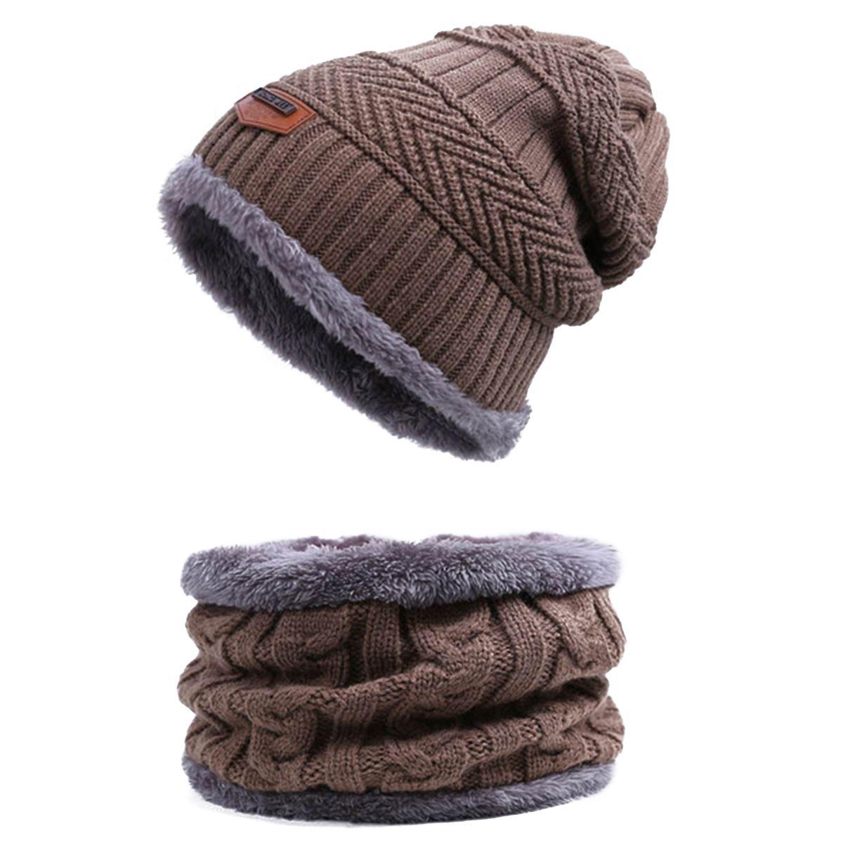 Evrfelan, комплект из двух предметов, зимняя шапка и шарф для мужчин, зимние шапочки, шарфы, мужские зимние комплекты, толстый хлопок, теплые зимние аксессуары - Цвет: A