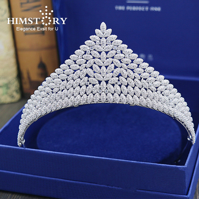 Himstory Gorgeous Brides Full Zircon Tiara Crown Large Size Royal Wedding Hair Accessories Crystal Hairbands цена