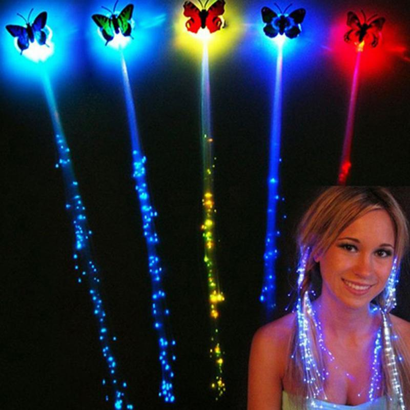 1 Pcs Colorful Glowing Butterfly Light Braids Unique Wigs Flash LED Hair Braid Clip Ligth Up Show Party Hair accessory