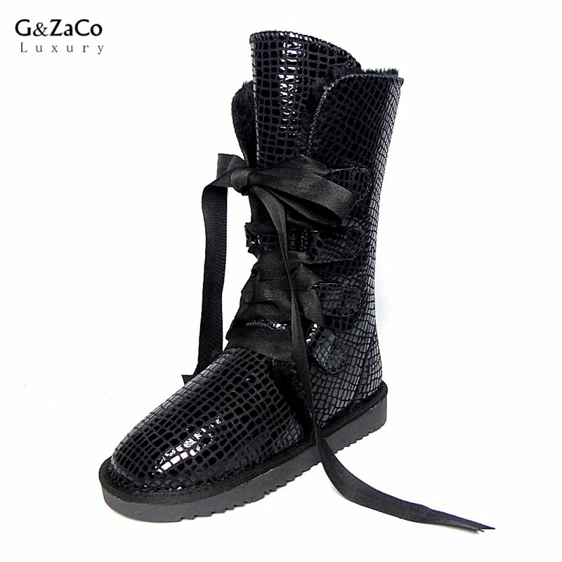 G&Zaco Women Strap Knee High Snow Boots Cowskin Boots Knee-high Lace Genuine Leather Bow Sweet Pink Female Flats Snow Boots магнитный наколенник magnetic knee strap