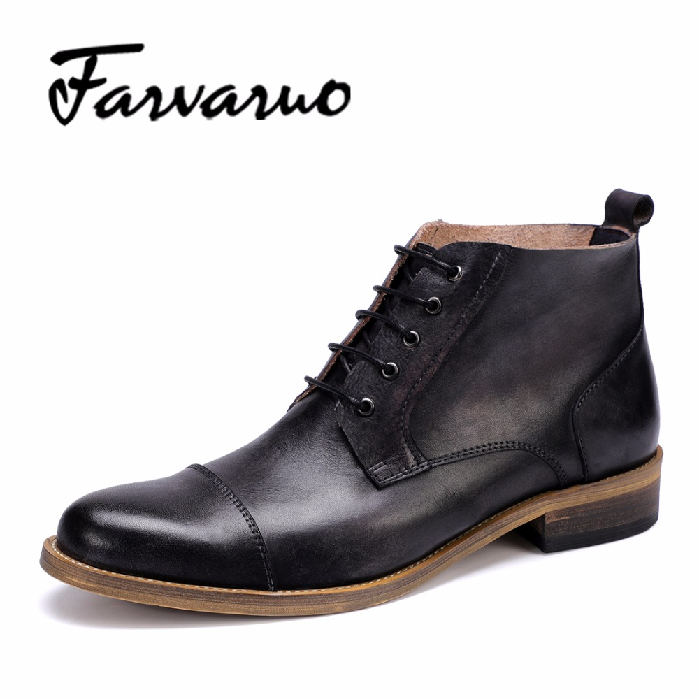 Farvarwo Mens Boots Casual Genuine Leather Ankle Autumn Winter Laces Winter Shoes Solid Color Men Classic Retro Snow Boots Black northmarch men shoes british retro cowhide leather ankle boots autumn and winter mens martin boots male wine red botas cuero