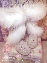 Luxury Handmade Gemstone Rhinestone Studded Australia Boots Furs Fox Cross High Shoe Bling Winter Leather Snow Casual