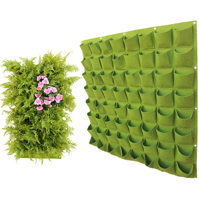 Non-Woven Flower Pot Balcony Vertical Wall Hanging Vase Multi-Port Planting Bag Seeder Decorative Vase Green Garden Planting Bag