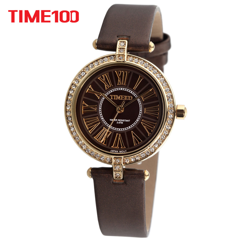 Time100 Fashion Retro Women Watches Coffee Leather Strap Quartz Watches Diamond Roman Numerals Dial Ladies Casual Wrist Watch new watch women hollow out alloy dial clcok faux leather analog quartz watch roman numerals ladies casual wrist watches women