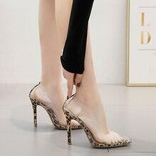Купить с кэшбэком Hot Transparent Leopard High Shoes Women Pumps Heels Party Pumps PVC Sandalias mujer 2019 Pointed Toe Ladies Shoes