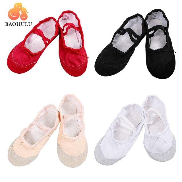 2018 BAOHULU для девочек мягкие разделение подошва дышащая кожа Совет танец балетные костюмы обувь удобные дышащие фитнес 4 цвета