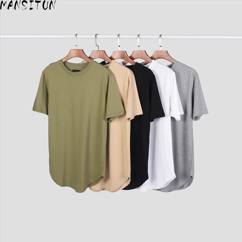 Oversize Hip Hop T shirt Men 2018 Summer Longline Curved Hem Solid Color Streetwear Hip Hop Cotton Mens Tops Tee Shirt Homme|tee shirt homme|camouflage t shirt|t shirt men - title=