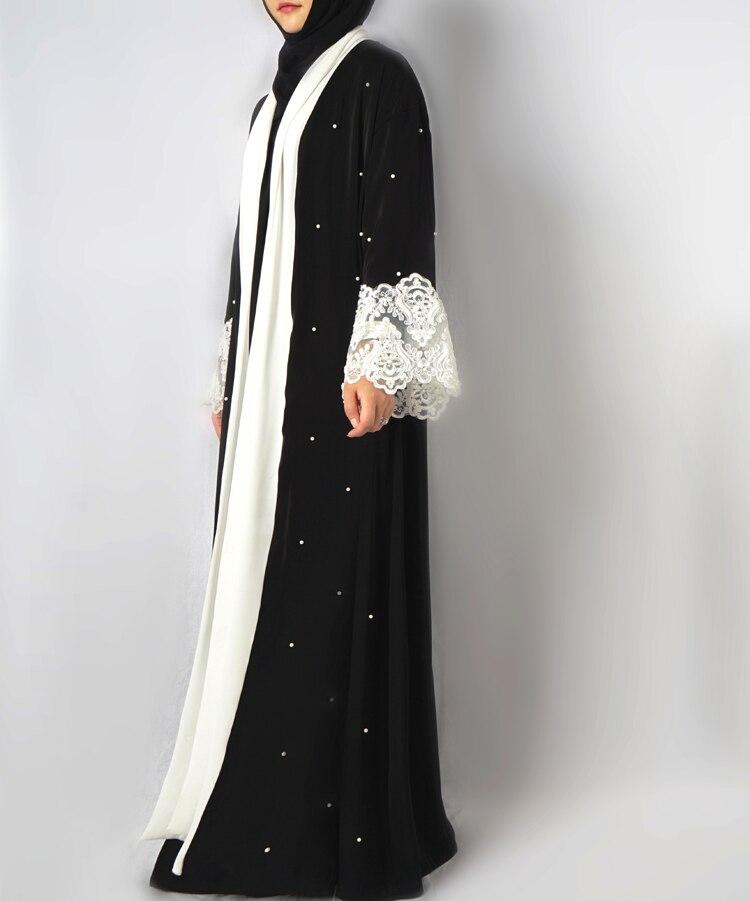 Fashion Muslim Dress Abaya in Dubai Nida with Pearl Islamic Clothing For Women Jilbab Djellaba Robe Musulmane Turkish Baju 5XL