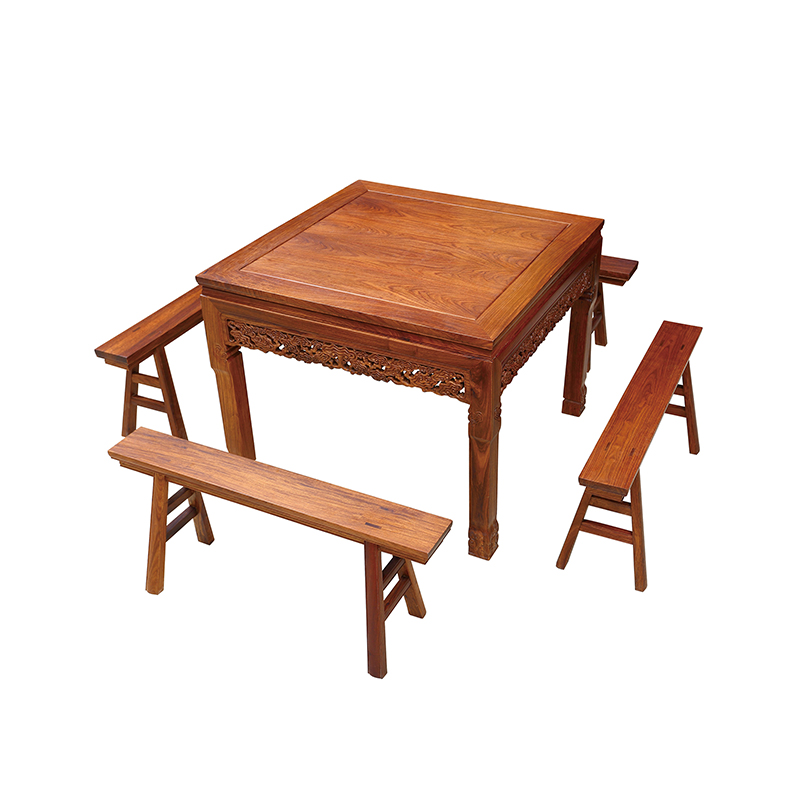 5 Pcs/Set Red Solid Wood Furniture 1 Square Table 4 Chairs Antique Dining Room Furnishings Hedgehog Rosewood Dining Tables