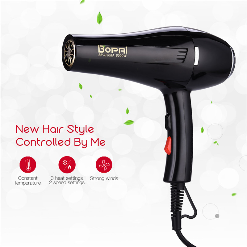 BoPAi 5000W Powerful Professional Hair Dryer Negative ion Blow Dryer EU Plug Hairdryer 220-240V + 2 wind collecting nozzles S45 giftforall hair dryer hotel bathroom home professional hair salon powerful wall mounted portable mini hairdryer d139 d