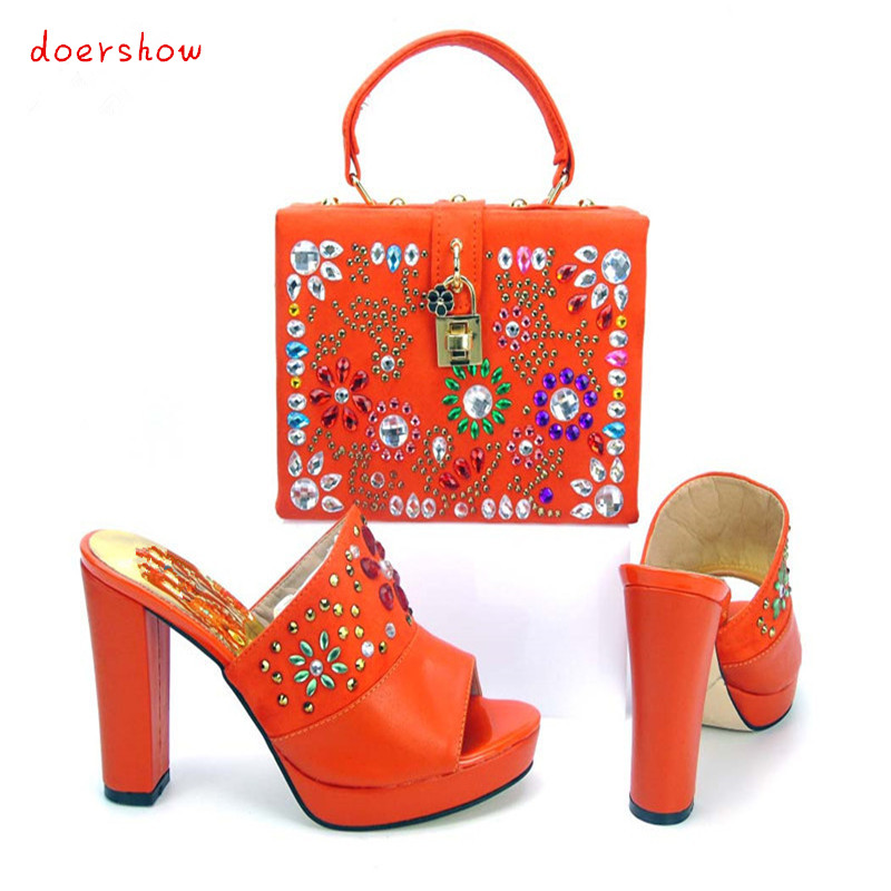 doershow Italian Shoes with Matching bags For Party,High Quality african Shoes And Bags Set for Wedding shoe and bag PYS1-10 capputine new arrival fashion shoes and bag set high quality italian style woman high heels shoes and bags set for wedding party