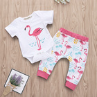 Summer Flamingo Outfit Baby Girl Pants Set Short Sleeve Bodysuit Pants Pink 2 Pieces Set First Birthday Gift Kids