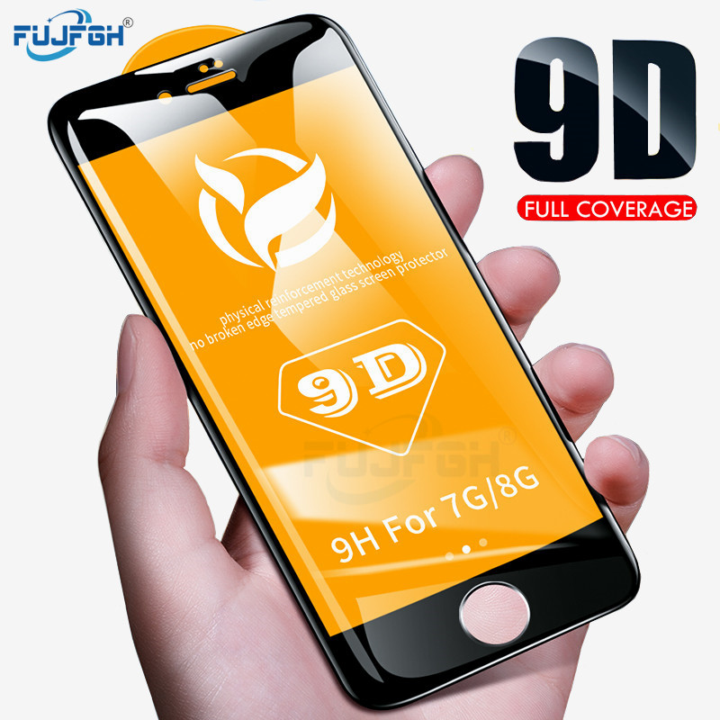 FUJFGH 9D Protective Glass for iPhone 7 Screen Protector iPhone 8 XR XS XS Max Tempered Glass on iPhone X 6 6S 7 8 Plus XS Glass