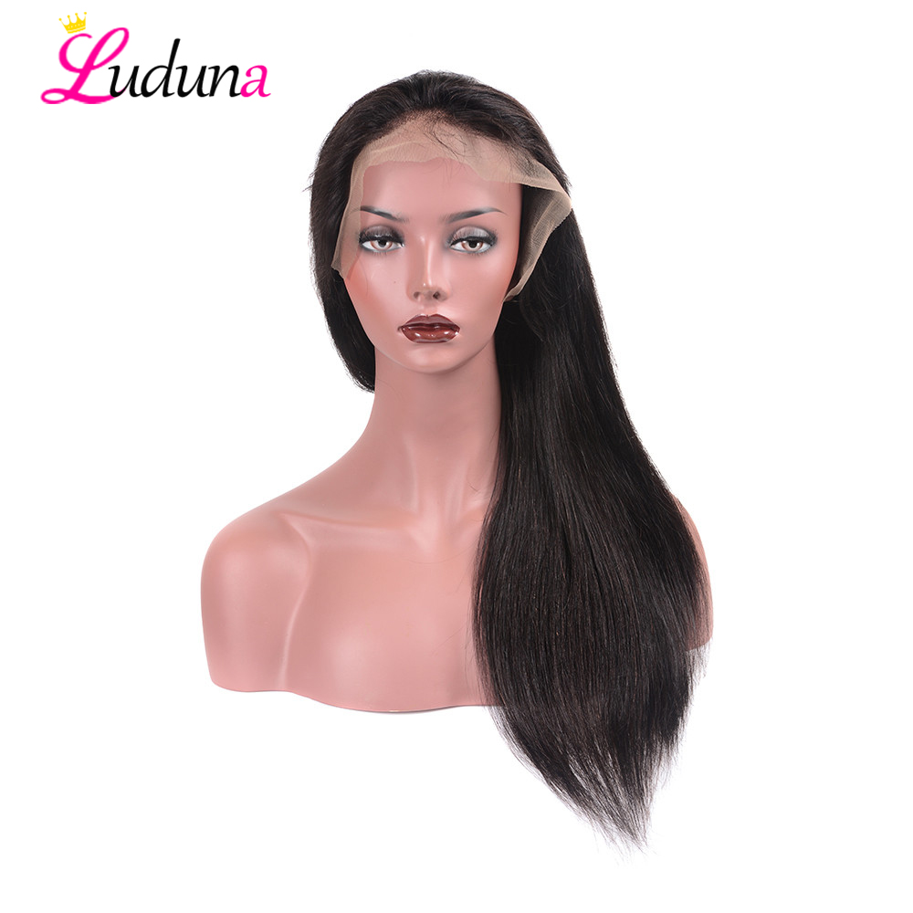 Hair Extensions & Wigs Human Hair Lace Wigs Luduna Peruvian Straight 360 Lace Frontal Wig Pre Plucked With Baby Hair 150% Density Lace Front Human Hair Wigs Remy Hair 8-24