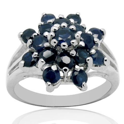 Anillos Qi Xuan_Dark Blue Stone Flower Rings_Fashion Ring_S925 Solid Silver Fashion Dark Blue Rings_Manufacturer Directly Sales