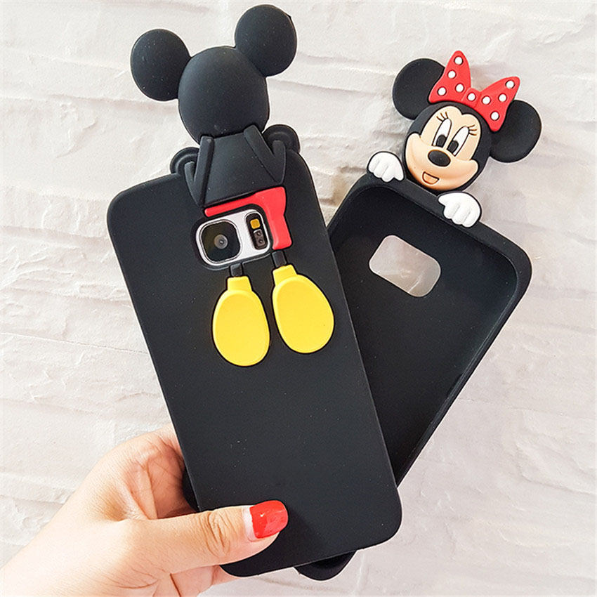 For Samsung Galaxy S5 S6 S7 S7Edge Note 3/4/5 Case Mickey Minnie Mouse Cartoon Coque Soft Silicone Phone Cases Cover Capa Fundas