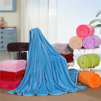 Super Comfortable Soft Blue Solid Color Blanket Bed / Sofa / Aircraft / Travel Multi-Size Optional Breathable Portable