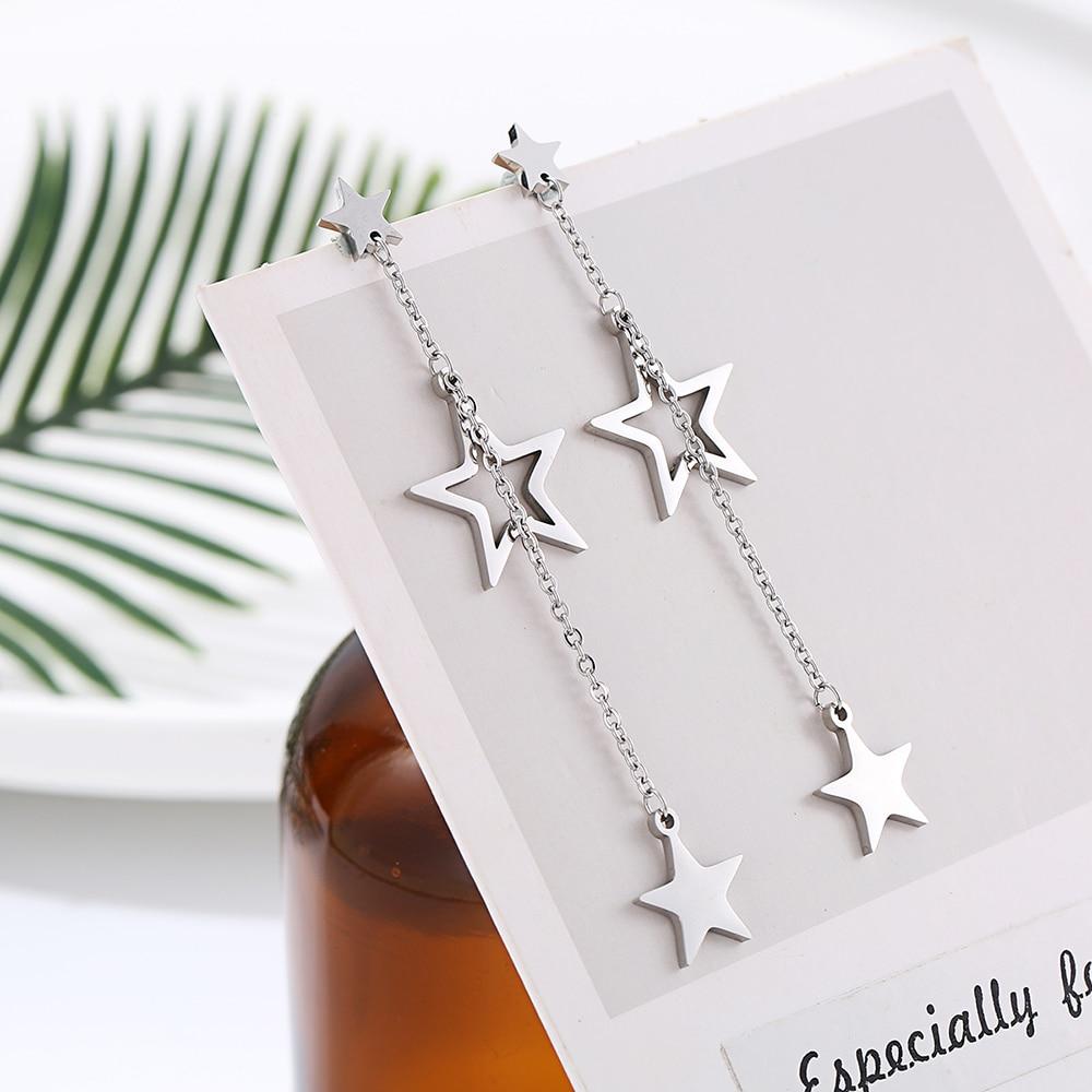 Женские серьги-подвески из нержавеющей стали, длинные висячие серьги с двойным кольцом, звездочками, сердечками, подарочные украшения