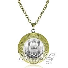 Illuminati Secret Masonic eye of providence locket jewelry freemasonry logo necklace antique bronze pendant vintage accessories