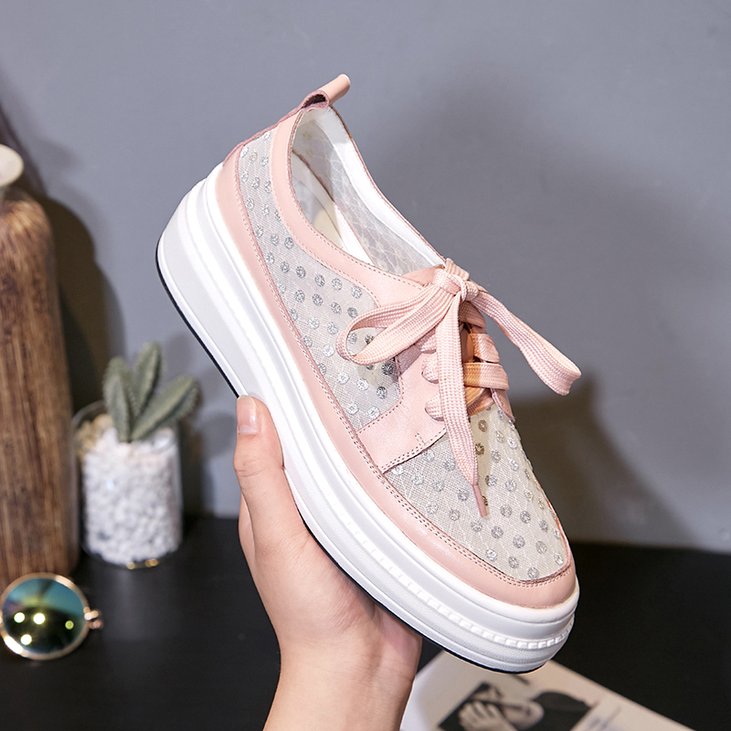 Myfitgo Sequins Women Sneakers Casual Walking Clubwear Sports Running Shoes Lace up Air Mesh Female Shoes