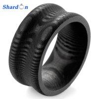 SHARDON Groove 100% Effen mannen circuits van groei ringen Patroon Pure Koolstofvezel Ring mannen Wedding Bands