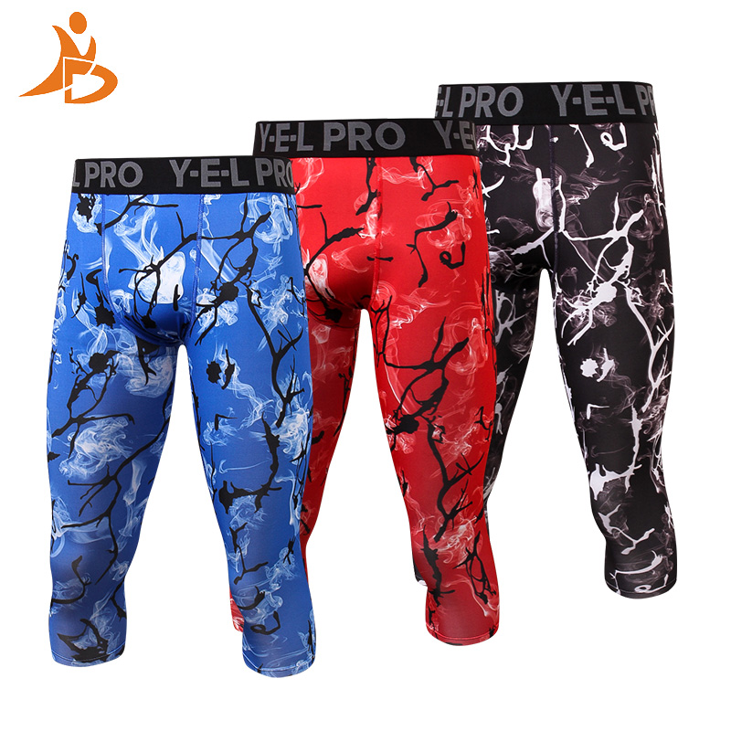 YD Quick Dry Men Compression Pants Sports Fitness Tights Sweat Pants Jogging Trousers Printing Legging Gym Running Pants